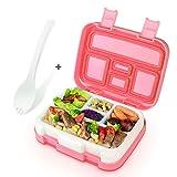 KidsHobby Scatola Pranzo, 5 Contenitore Separato Lunch Box, Microonde Cassaforte Bento Box con Posate e Banda (Rosa)