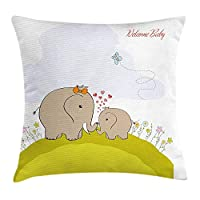 BHWYK Nursery Throw Pillow Cushion Cover, Baby Shower Inspired with Mother Baby Elephant Love Children, Decorative Square Accent Pillow Case, 18 X 18 inches, Cocoa Baby Blue Pistachio Green