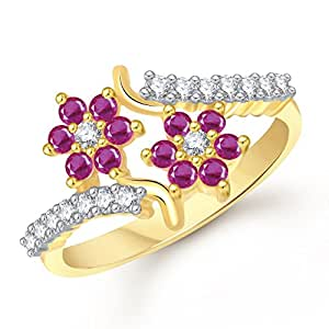 Meenaz Ruby 24K Flower Brass South Indian Traditional Gold Ring For Women Fr328