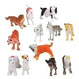 12pcs Regalo Cane Modello Animale Giocattolo Di Plastica Multicolore