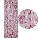 JEMIDI Schal mit verdecken Schlaufen für Schiene oder Stange Rosen Ranken 135cm x245cm Vorhang Gardine Schlaufenschal Gardinenband