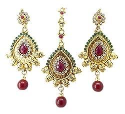9blings Wedding Ruby CZ Gold Plated Tikka Earrings set For Women mt20