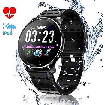 CanMixs CM10 Montre Connectée Smartwatch, Bracelet dactivité avec Moniteur de fréquence Cardiaque, Compteur de Calories pour Femmes et Hommes, ...