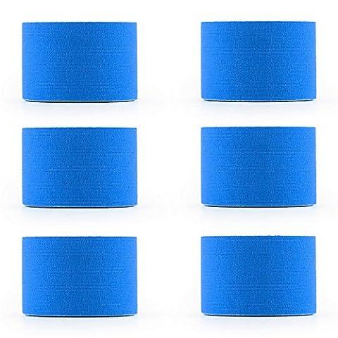 CAPITAL SPORTS Bondies • Kinesio Tape • Physiotape • Sport-Tape • Set mit 6 Rollen • Breite: 5 cm • Länge: 5 m • Band zur Unterstützung der Muskulatur beim Sport • 97 % Baumwolle • elastisch • atmungsaktives Material • wasserbeständig • blau