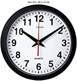 Stylish Black & White Bold Classic Quartz Wall Clock Non Ticking Silent ( 25cm / 10-Inch Diameter ) , Home / Kitchen / Office / School Clock , Easy to Read