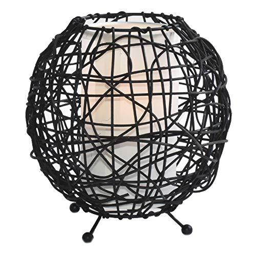 Rattan-muster (Tisch Lampe Ess Zimmer Rattan Stoff Strahler Muster Beistell Kugel Leuchte braun HI-LITE 12091018)