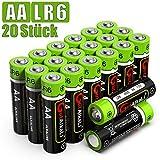 GutAlkaLi Batterien Mignon Alkali, AA,LR6, 20 Stück für Kameras, Spielecontroller, Spielzeug und Uhren
