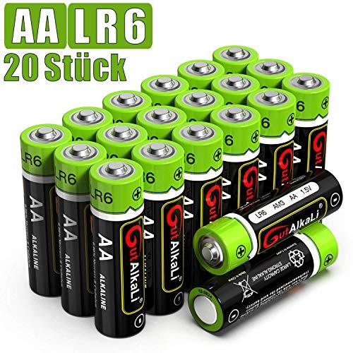GutAlkaLi Batterien Mignon Alkali, AA,LR6, 20 Stück für Kameras, Spielecontroller, Spielzeug und Uhren -