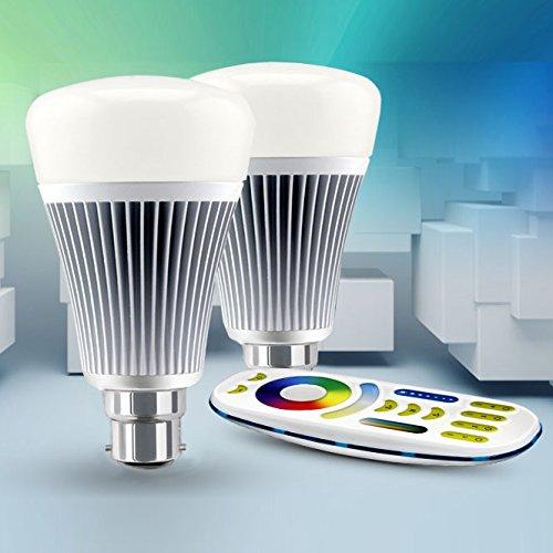 LIGHTEU, 2x 8W B22 New design wireless E27 8W 2.4G RF remote control RGBW+CCT LED bulbs lights with a 4 zone remote control