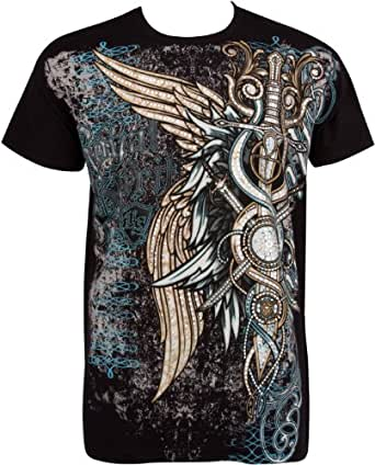 Sakkas Mens T Shirts - T Shirt Design with Wings and Swords Metallic Silver Embossed Short Sleeve Crew Neck Cotton T Shirts For Men - Black / Small