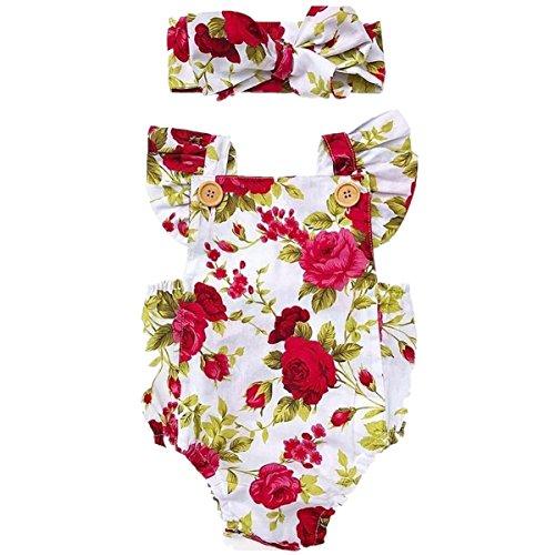 CAT1-RHD 0-24 Monate Baby Mädchen Strampler Spielanzug Blumen+ Stirnband Kleidung Kinder (0-6 Monate, Rot Blume)