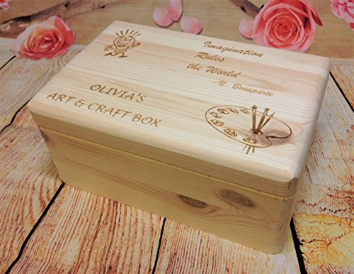 Personalised Wooden Art and Craft Box Bespoke Natural Wood Keepsake Treasure Gift Present New Lasered Engraved Store Memories