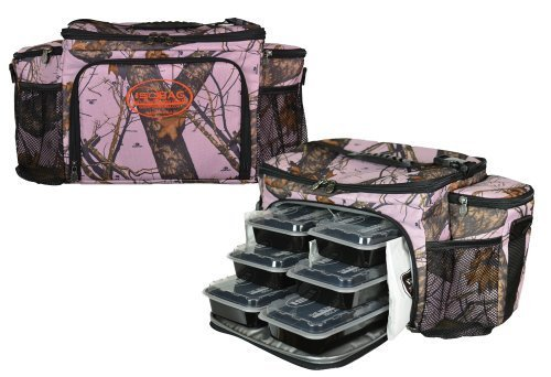 Isobag 6 Meal Management System Mossy Oak Edition/Full Camouflage (Mossy Oak Pink)Insulated Lunch Box/Bag by Isolator Fitness