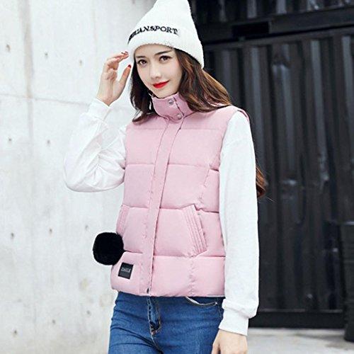 Wolfleague Mode Womens Hiver Chaud Gilet Couleur unie Gilet Gilet Coton Veste Manteau Parka Outwear Rose