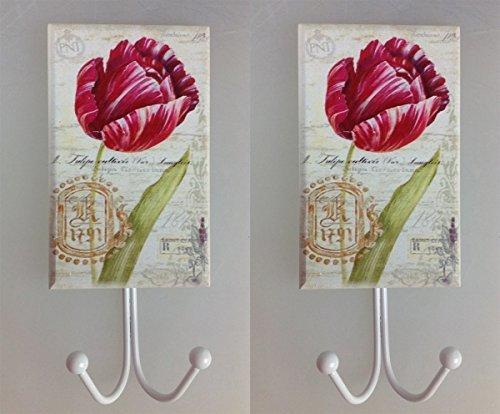 2 Stück Kleiderhaken rote Tulpen XXL Holz Metall Garderobe Haken Huthaken Mantelhaken Wandhaken Landhaus Antik Design