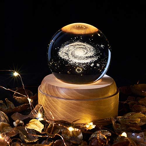 OurLeeme Carillon sfera di cristallo con luce notturna Carillon con luce di proiezione LED Base legno per regalo di ringraziamento di compleanno di