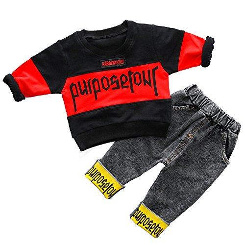 Baby Boy Langarmshirts und Jeans 2 Stück Set Fashion Outfit Kleidung für Kleinkinder Toodler (Klettern Denim Jeans)