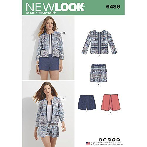 New Look Schnittmuster 6496Misses 'Jacket, Skort, Shorts oder Rock, Weiß -