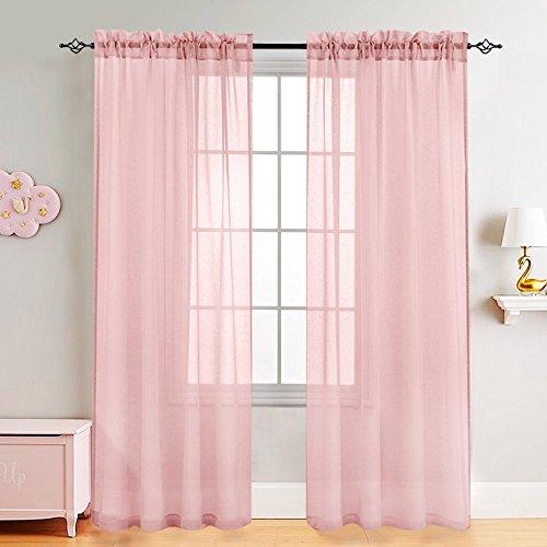 TOPICK Voile Vorhang mit Stangendurchzug transparent Gardine 2 Stücke Gaze paarig für Duschzimmer 241 cm x 140 cm(H x B),2er-Set,Rosa