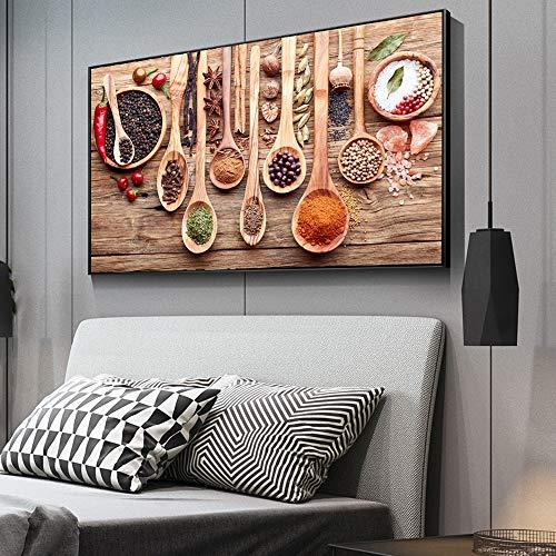 zgmtj Buntes Gewürz und Löffel in der Tabelle Leinwand Gemälde Küche unter dem Motto Wall Art Decor Food Konzept Retro Leinwand Kunstdrucke Cuadros