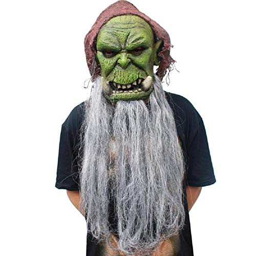 MIANJV Halloween Teufel Horror Maske mit Bart und Kopftuch Neuheit Lustige Latex Gummi Gruselige Kopf Masken für Halloween Kostüm Party