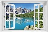 Wallario Acrylglasbild mit Fenster-Illusion: Motiv Tiefblauer See mit Bergpanorama und Wäldern – Kanada - 60 x 90 cm mit Fensterrahmen in Premium-Qualität: Brillante Farben, freischwebende Optik