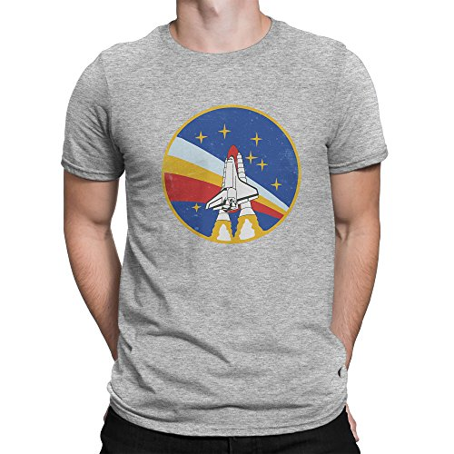 Vintage Retro Nasa Space Badga Patch Herren T-shirt S (V-neck Jersey Distressed)