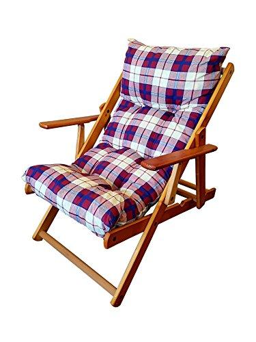 Totò piccinni poltrona sedia sdraio harmony relax in legno pieghevole 3 posizioni ( bordeaux )