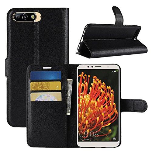 HualuBro Huawei Y6 2018 Hüllen, Honor 7A Hülle, Leder Brieftasche Etui LederHülle Tasche Schutzhülle HandyHülle Handytasche Wallet Flip Case Cover für Huawei Y6 2018, Honor 7A (Schwarz)