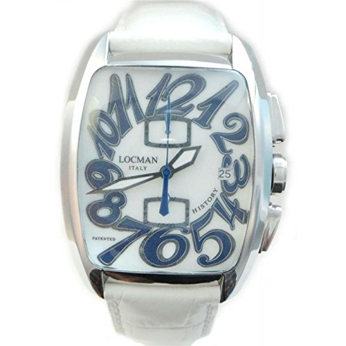 Men Locman 487 N00mwnbl0psw Quartz Clock (Rechargeable) quandrante Steel White Leather Strap