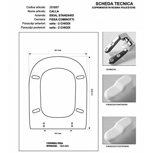 ACB/COLBAM Copriwater in Legno Rivestito di Poliestere per Ideal Standard Calla Bianco I.S. Cerniera Rallentata Soft Close Cromo-Sedile-ASSE WC