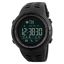 Wokee Fashion Skmei Waterproof Bluetooth Sport Smart Watch Phone Mate Android Ios Wristwatch (Black)