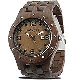 WONBEE Herren Holz Uhr Handgefertigte Analog Quarzwerk Uhr aus Holz mit Ebenholz Armband Ebony-109