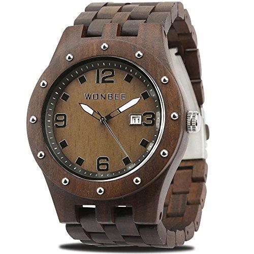 WONBEE Herren Holz Uhr Handgefertigte Analog Quarzwerk Uhr aus Holz mit Ebenholz Armband Ebony-109 -