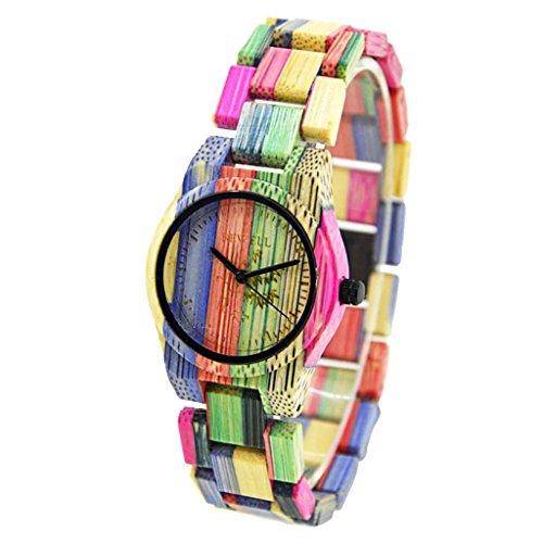 MagiDeal Unisex Armbanduhr Quarzuhr Holz Uhr Holzuhr Damen Herren Geschenk