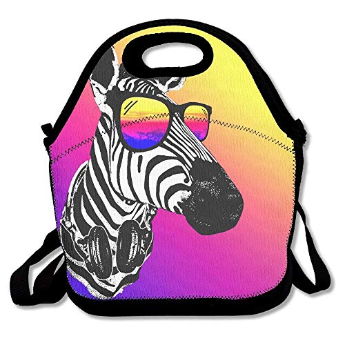 Icndpshorts Lunch Boxes Fashion Zebra with Sunglasses Lunchbox Food Container Lunch Tote Handbag Designer Lunch Box for Work, Office, School Womens Zebra Pony