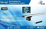 BB-EP/Thule 9825254455 Kompletter Premium Alu-Dachträger für Hyundai i30 5 Türer Schrägheck 2012 bis 2017 - Komplettset mit Aluminium Traverse Silber - Inkl Schlüsselband und Insect Erase