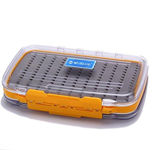 V-Blue Fly Fishing box Doppelseitige Wasserdichte Fliegenbox Angelzubehör orange/weiß