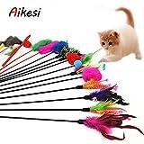 Aikesi Giocattoli per Gatto Domestico Gattini Giochi Bacchette con Piume e Primavera e Campane, Colori Casuali, 4pcs