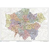 "Greater London Authority Boroughs Wall Map - 47"" x 33.25"" Laminated"