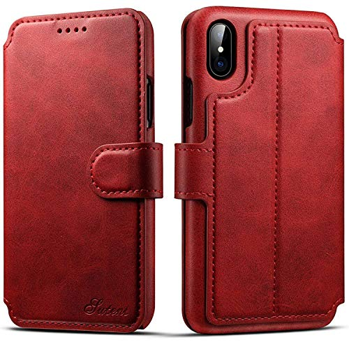 BENIMIL Schutzhülle für iPhone XS/X/8/7/6S, Leder, Standfunktion, Magnetverschluss, schlankes Design, iPhone 7 Plus/8 Plus (5.5