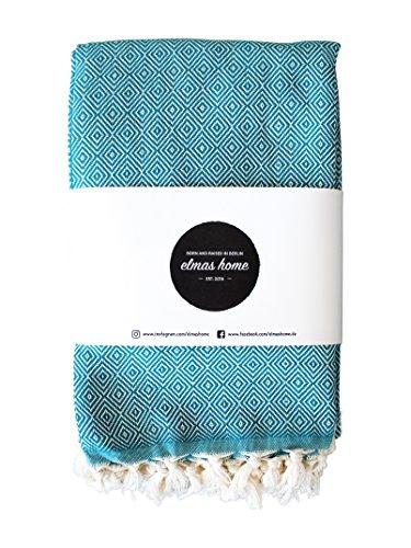 Elmas Home CLASSIC DIAMOND Tagesdecke Decke Baumwolle - Couchdecke Plaid - Wohndecke Überwurf - Vintage Bettüberwurf und Kuscheldecke - 240 x 200cm XXL (Opal-Grün)
