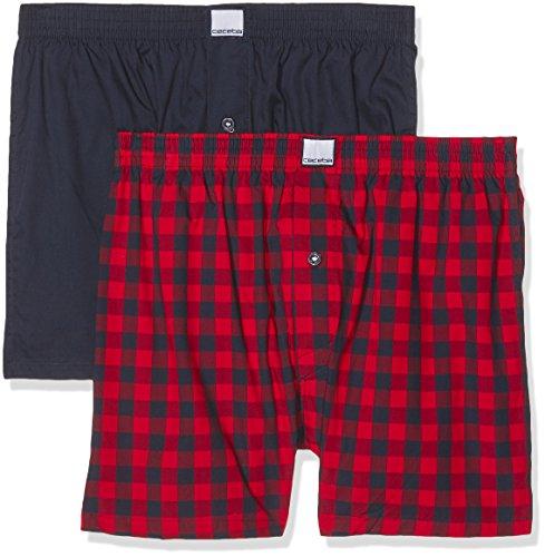 Ceceba Herren Boxershorts Web-shorts 2er Pack Rot (red-medium-check 424)