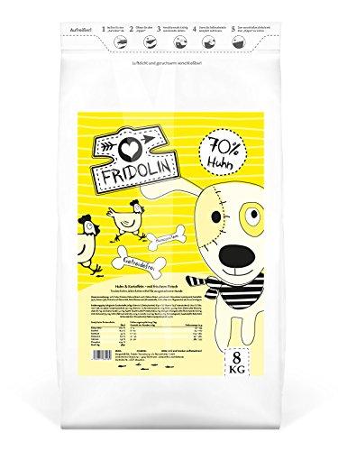 Fridolin Premium Trockenfutter mit Huhn & Reis für ausgewachsene Hunde, 1 Beutel (1 x 8 kg)