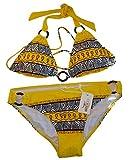 Triangel Bikini AZTEC - Damen Push up Zweiteiler Bikini Set mit Bikinioberteil und Bikinihose - Original von ROCK-IT - Farbe Gelb - Small