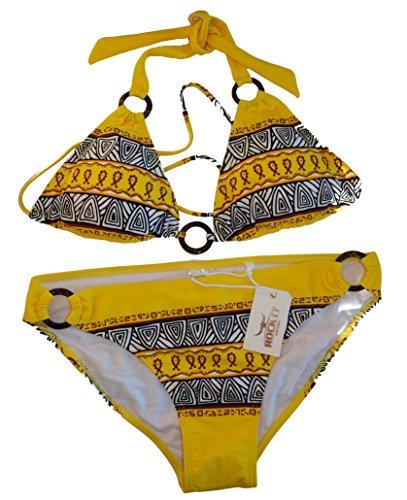 Triangel Bikini AZTEC - Damen Push up Zweiteiler Bikini Set mit Bikinioberteil und Bikinihose - Original von ROCK-IT - in den Farben Braun Ocker Rot Weiß Gelb Schwarz und Grün Gelb
