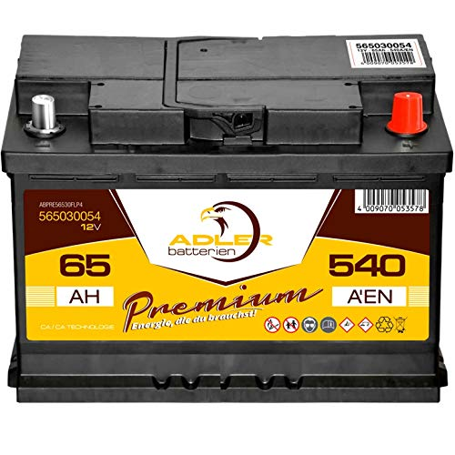 Starterbatterie 12V 65Ah wartungsfrei Adler PKW-Batterie statt 55Ah 60Ah 62Ah 63Ah