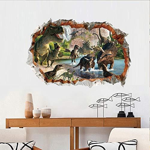 3D Broken Cave Landschaft Jurassic Dinosaur World Wandaufkleber PVC Abnehmbare Hintergrund Wanddekoration cvxgdsfg (Size : 60 * 90CM)
