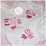 Personalisd 3 peice gift set, Baby Vest, Bib & Sleepsuit, Embroidered design Plus gift wrap & personalised ribbon