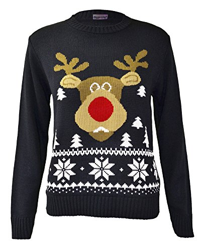 Kids Girls Boys Christmas Knitted Jumpers Children Reindeer Rudolph Red Navy Knitwear Tops Size 7/8 9/10 11/12 13 Years (7/8 Years, Navy Rudolph)